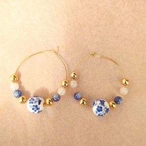 Gorgeous beaded hoops 💙,  brand new!